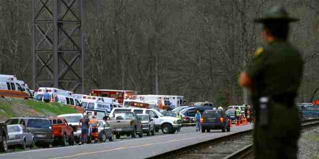 Scene near Upper Big Branch mine after explosion, April 5, 2010/Jon C. Hancock, AP, MSNBC, msnbc.com