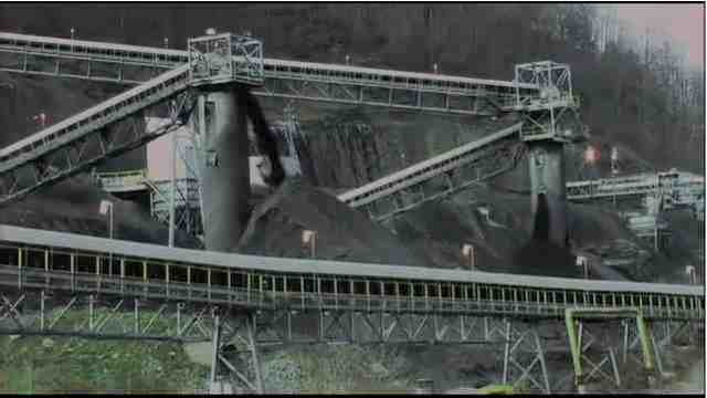 "Coal & conveyors, somewhere in WVa, image from video tribute to Judy Bonds, excerpted from ""On Coal River""/vimeo.com"