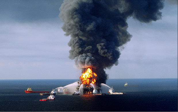 Boats fight fire after Deepwater Horizon explosion, Gulf of Mexico, April 27, 2010/KPA, Zuma, Rex Features, The Guardian