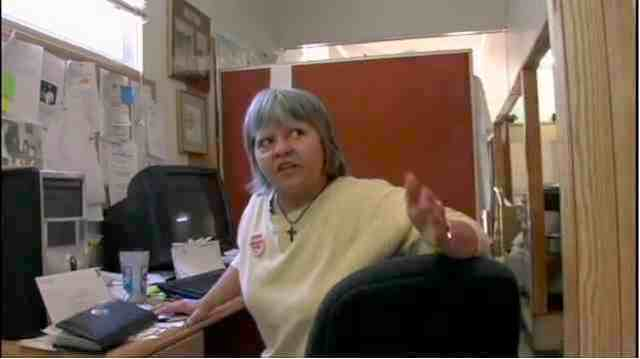 "Judy Bonds in Coal Mountain River Watch office, Whitesville, WVa, image from video tribute, excerpted from ""On Coal River""/vimeo.com"