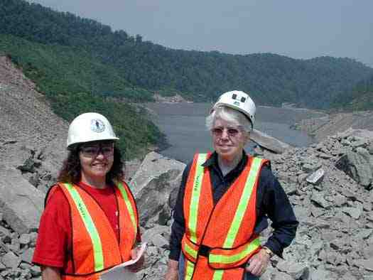 Judy Bonds & Freda Williams of Coal River Mountain Watch tour Brushy Fork impoundment, Whitesville, WVa, June 21, 2001/Vivian Stockman, summerrayneoaks.blogspot.com