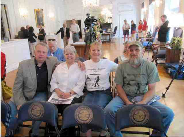 "Bo Webb & Judy Bonds of Coal River Mountain Watch, Debbie Jarrell & Ed Wiley of Pennies of Promise, at capitol building before press conference announcing funds are in place to build a new Marsh Fork Elementary School, Charleston, WVa, April 30, 2010/iLoveMountains.org, ""A new school for Marsh Fork Elementary!"" flickr.com"