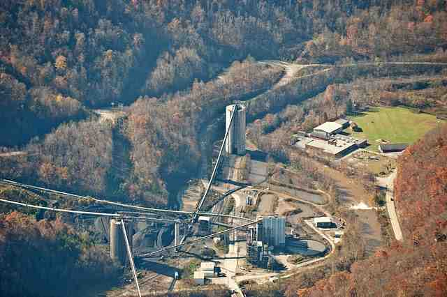 "Massey coal processing facility (left), Marsh Fork Elementary School (right), Sundial, WVa, Nov 1 09/Carl Galie, flight by SouthWings, ""brushy fork mountaintop removal,"" picasaweb.google.com"