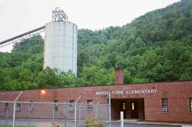 Marsh Fork Elementary School, Massey coal silo & conveyor, Sundial, WVa, undated/The Charleston Gazette, blogs.wvgazette.com