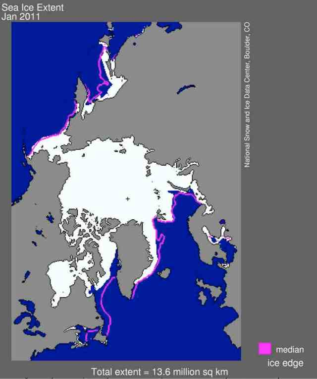 "Map of January 2011 Arctic sea ice (white) and pre-2001 norm (purple line) with small ""+"" near center marking North Pole/National Snow and Ice Data Center, nsidc.org"