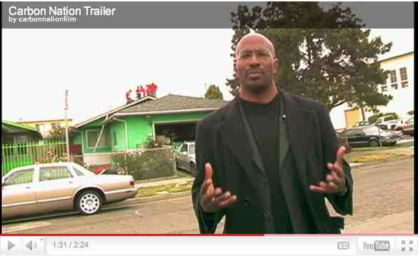 "Van Jones, founder Green for All, near a house being fitted with solar panels, Richmond, CA, image from trailer for ""Carbon Nation""/carbonnationthemovie.com"