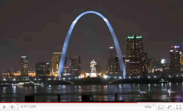 "St. Louis Arch, Earth Hour, March 27, 2010, image from ""Earth Hour 2011 Official Video""/Earthhour.org, youtube.com"