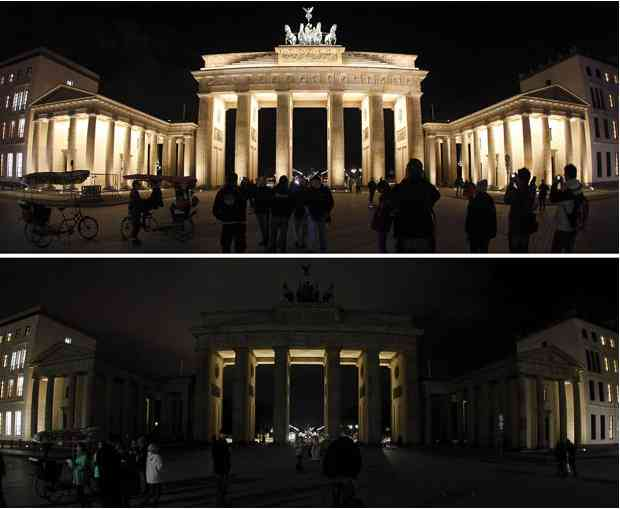 Brandenburg Gate, Berlin, Germany, Earth Hour, March 27, 2010/Reuters, The Telegraph, telegraph.com