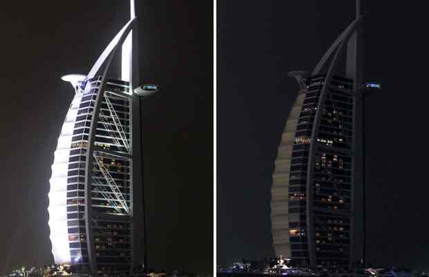 Burj al Arab Hotel, Dubai, Earth Hour, March 28, 2009/Fouad Juez, Reuters, The Vancouver Sun, vancouversun.com