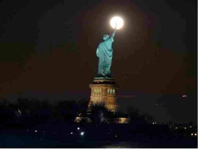 Supermoon rises over Statue of Liberty, Liberty State Park, Liberty, NJ, March 19, 2011/Brian J. Gibney, nj.com