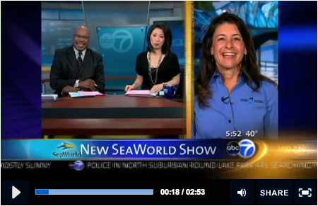 "Chicago's ABC 7 News This Morning co-anchors Hosea Sanders and Judy Hsu talk to SeaWorld's Julie Scardina before premiere of ""One Ocean""/ABC 7 News, abclocalgo.com"