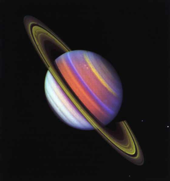 Composite of two Voyager 2 images of Saturn through one ultraviolet and one violet-and-green filter, August 1981/NASA