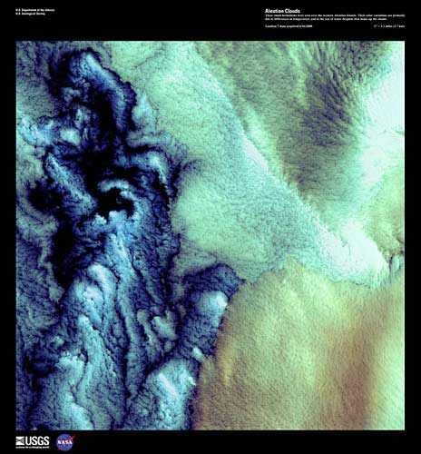 Clouds over the western Aleutian Islands, June 1, 2000/Earth as Art, Landsat 7, USGS, Earth Resources Observation and Science Center (EROS), eros.usgs.gov