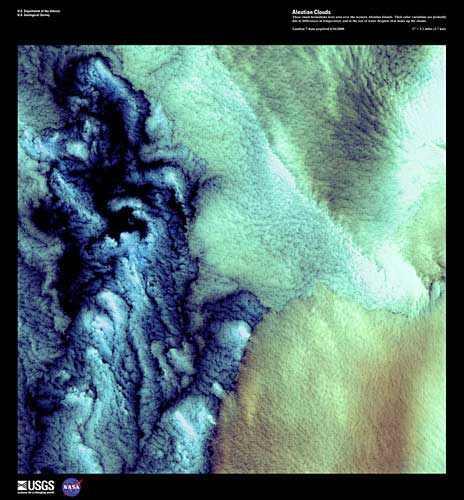 Clouds over the western Aleutian Islands, June 1, 2000/Earth as Art, Landsat 7, USGS, Earth Resources Observation and Science Center (EROS), eros.usgs.gov