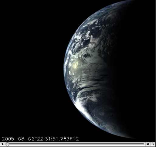 Images of Earth taken over a 24-hour period by the Messenger Spacecraft from a distance of 40,761 to 270,847 miles in space, Aug 2-3, 2005/ NASA, Johns Hopkins University Applied Physics Laboratory, Carnegie Institution of Washington, messenger.jhuapl.edu