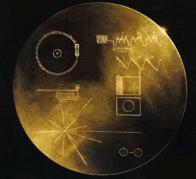 The Golden Record, containing scenes, multi-lingual greetings, music and sounds from earth, placed aboard Voyager 1 & 2/NASA
