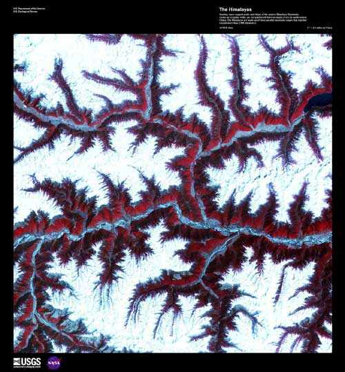 Snow-capped peaks, ridges and rivers of eastern Himalayas in southwestern China, April 12, 2001/Earth as Art 2, ASTER, USGS, Earth Resources Observation and Science Center (EROS), eros.usgs.gov