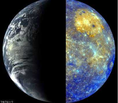 Messenger Spacecraft images of earth from 40,761 miles away (left), Aug 2, 2005, and Mercury from 8,000 miles away (right), Jan 14, 2008/ NASA, Johns Hopkins University Applied Physics Laboratory, Arizona State University, Carnegie Institution of Washington, messenger.jhuapl.edu