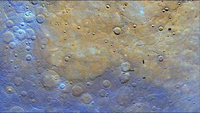 Color-enhanced image of Mercury's northern plains/NASA, Johns Hopkins University Applied Physics Laboratory, Carnegie Institution of Washington, messenger.jhuapl.edu