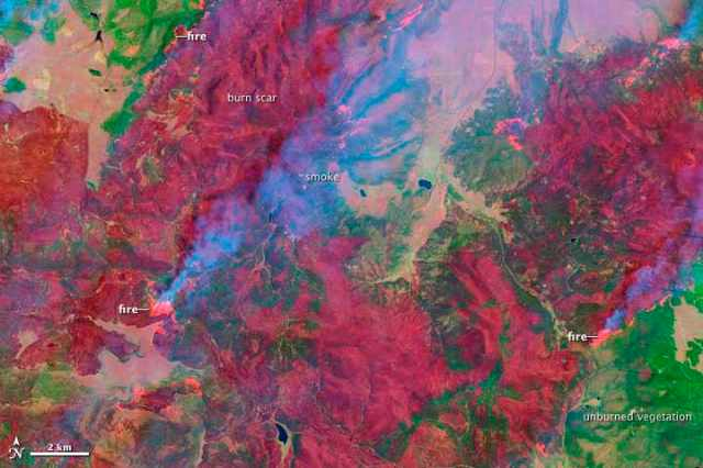 Landsat 7 Satellite image of Arizona Wallow Fire, June 7, 2011/USGS, NASA Earth Observatory, earthobservatory.nasa.gov