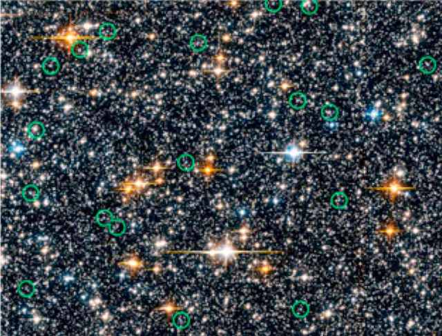 Portion of star field from Hubble Space Telescope seven-day 2006 Sagittarius Window Eclipsing Extrasolar Planet Search (SWEEPS) with possible Blue Straggler stars circled in green/NASA, ESA, Z. Levay (STScI), W. Clarkson (Indiana University and UCLA), K. Sahu (STScI), hubblesite.org