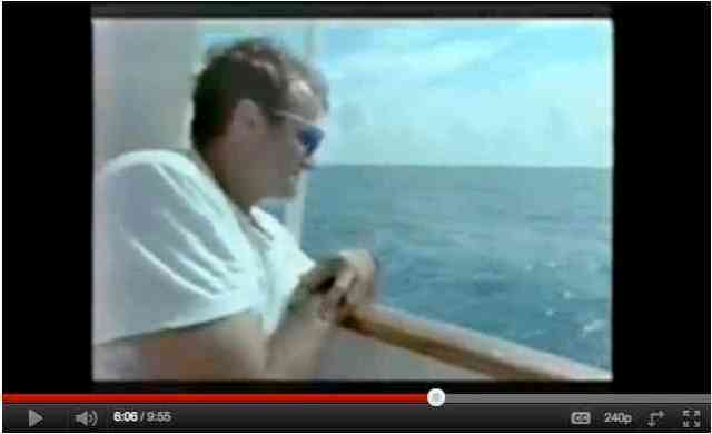 "Robin Williams aboard RV Stenella, Bahamas, 1992/""In the Wild: Dolphins with Robin Williams,"" PBS, Part 3, 1 of 3, youtube.com"