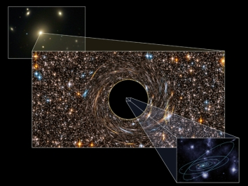 Illustration of newly discovered black hole with our solar system at center for scale/Pete Marenfeld, National Optical Astronomy Observatory, The New York Times