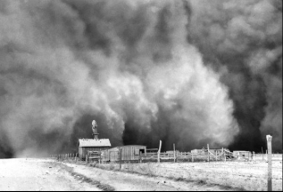 Dust cloud approaches farm in Boise City, OK, April 15, 1935/Dorothea Lange, Library of Congress, Historic Adobe Museum, Deseret News
