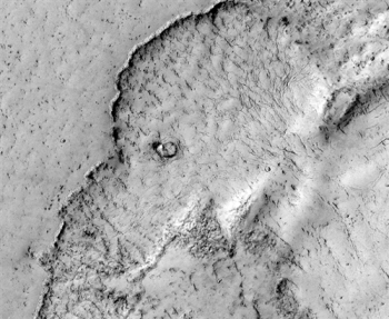 Elephant face lava flow on Mars, March 19, 2012/NASA, JPL, U. of Arizona, msnbc