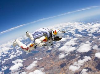 Felix Baumgartner during practice dive over New Mexico, undated/Luke Aikins, Redbull Photofiles, Nat Geo News
