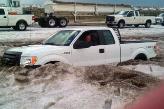 Motorist and truck in slushy hail, Amarillo, TX, April 11, 2012/Amarillo, Potter Randall OEM