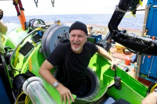 James Cameron emerges from submersible after historic dive, March 25, 2012/AP