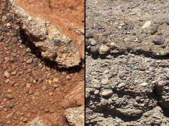 Pebbles & Gravel in Dry Streambed on Mars (left) and on Earth (right)/MSSS-Caltech-NASA & PSI, nationalgeographic.com