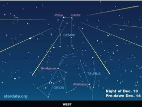 Sky diagram for viewing Geminid Meteor Shower, Night of Dec 13-14/StarDate.org, the MacDonald Observatory, USA Today