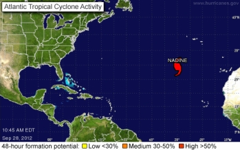 Position of Hurricane Nadine, 10:45 a.m., Sept 28, 2012/nhc.noaa.gov