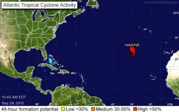 Position of Hurricane Nadine, 10:45 a.m., Sept 28, 2012/nhc.noaa.gov