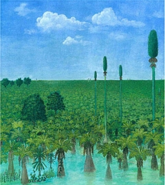 Artist's rendition of tropical forest found buried under volcanic eruption in present day Inner Mongolia/Ren Yugao, courtesy of Jun Wang, The Christian Science Monitor