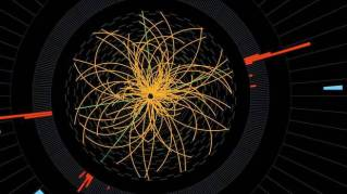 "2011 CERN image of proton-proton collision showing signs of Higgs boson (aka ""God particle"") decay, 2011/CERN, AP"