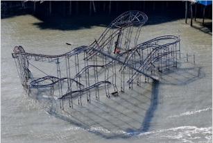 Seaside Heights roller coster after Sandy, Nov 9, 2012/Mel Evans, AP, google.com