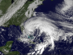 Hurricane Sandy over the Bahamas, Oct 26, 2012/GOES, NOAA, CBS News