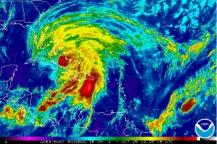 Hurricane Sandy hitting the Bahamas, Oct 25, 2012/NOAA Satellite and Information Service