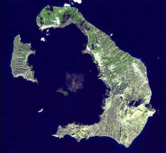 NASA Image of Santorini, undated/NASA-GSFC-MITI-ERSDAC-JAROS & U.S.-Japan ASTER Science Team, csmonitor.com