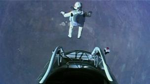 Austrian skydiver Felix Baumgartner steps out of capsule 24 miles above earth, October 14, 2012/BBC News