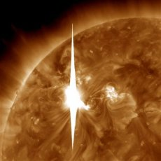 Solar flare, erupting at 7 p.m., EST, March 7, 2012/NASA, AP