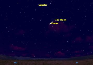 Projected Jupiter-Moon-Venus alignment on Saturday Feb 25, 2012/Starry Night Software, Space.com