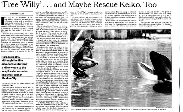 """'Free Willy'...and Maybe Rescue Keiko, Too,"" NYTimes Sunday Arts & Leisure, July 11, 1993"