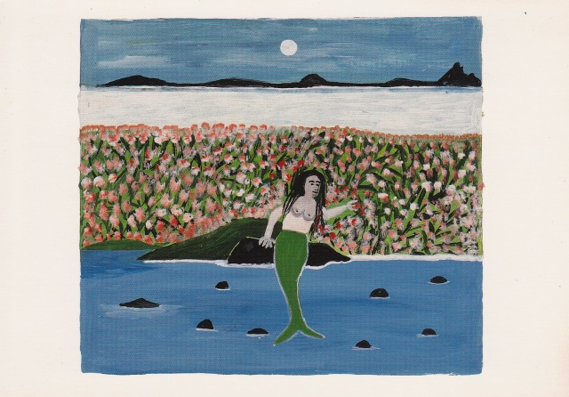 "Postcard of painting ""The Mermaid Resting in her Garden"" by Carriacou artist Canute Caliste/GNN Library"