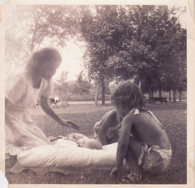 Mom, Lili on blanket, Gini behind Annette, Summer 1951
