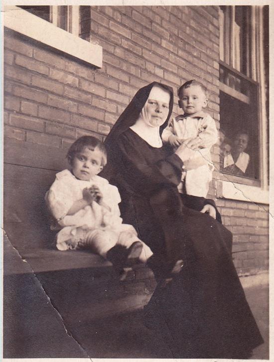 Helen & Arthur Ptacek with Sister Justina, St. Joseph's Bohemian Orphanage, Lisle IL, 1919