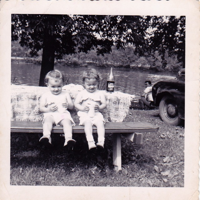 Gini & Annette at picnic table, Daddy by the water, Summer 1951